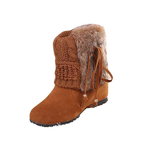 Cheville Chaudes Femme Boots Flat Fourrure Compensés Covermason Des Neige Jaune Talons Hiver Chaussures Bottes zvI0xqC