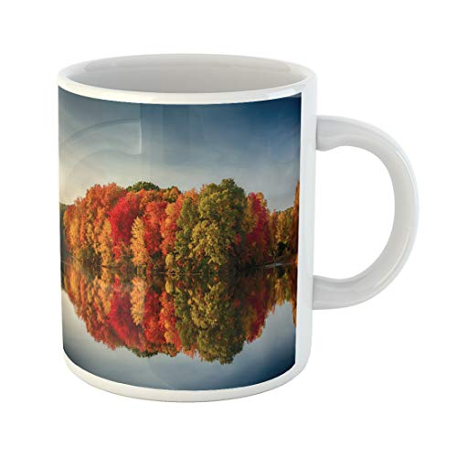 Semtomn Funny Coffee Mug Foliage Fall Colors Reflecting in Pond Water Reflection Leaves Ashland 11 Oz Ceramic Coffee Mugs Tea Cup Best Gift Or Souvenir