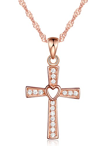 Rose Sterling Silver Crucifix - Infinite U Women's Classic Heart Cross Crucifix Pendant Necklace 925 Sterling Silver Cubic Zirconia,Rose Gold