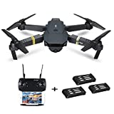 Foldable Selfie RC Drone Wide Angle Camera, Control RC Quadcopter Helicopter L800 2MP W/ 720P WiFi FPV RTF with 3.7V 500mAh Lipo Battery (1xDrone+3xBattery, Black)