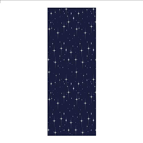 (3D Decorative Film Privacy Window Film No Glue,Space,Night Sky with Stars Romantic Space Themed Image Dotted Background Constellation Decorative,Dark Blue White,for Home&Office)