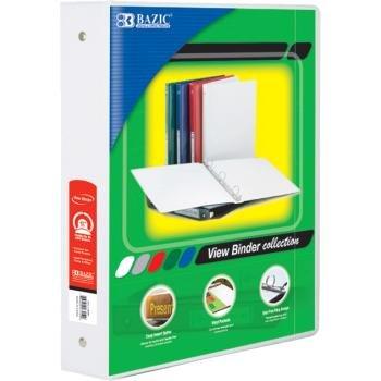 1.5' White Box - Bazic 1.5'' White Bulk 3-Ring View Binder with 2-Pockets Case Pack 12