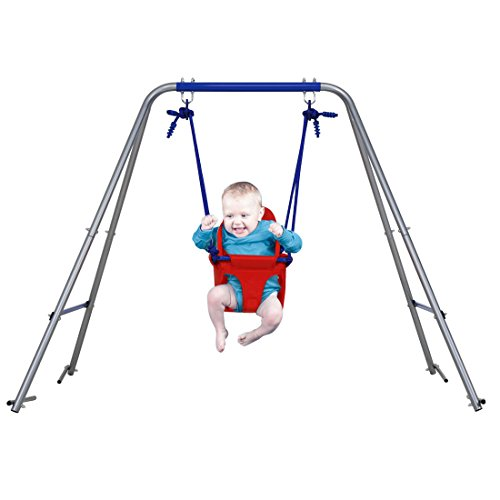HLC Outdoor Folding Toddler Garden Swing Frame with Safery Seat for Kids, Nursery Swing Red, Best Gift