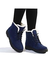 Suede - Zapatos de invierno, de gamuza plataforma, botas de nieve, acordonados, para mujer