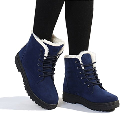 Susanny Suede Flat Platform Sneaker Shoes Plus Velvet Winter Women's Lace Up Blue Cotton Snow Boots 7.5 B (M) US