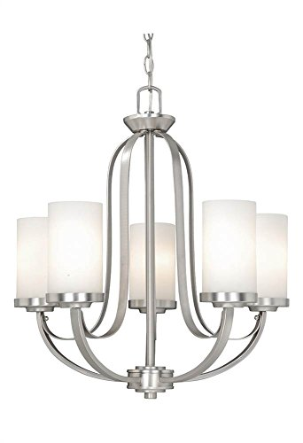 Vaxcel OX-CHU005BN Oxford 5 Light Chandelier, Brushed Nickel Finish