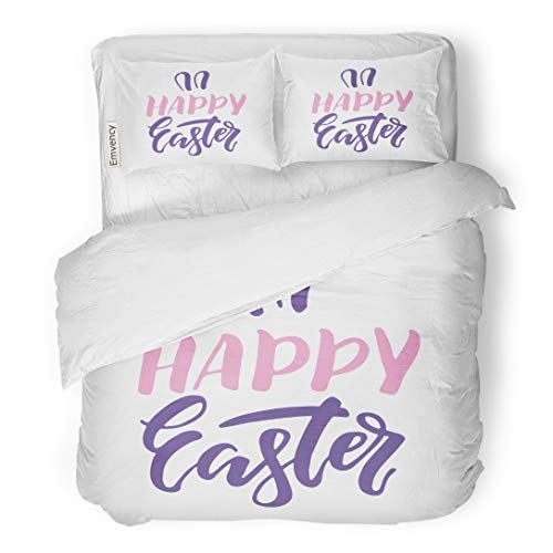 (Emvency Bedding Duvet Cover Set ABC of Easter Phrase Text Templates Rabbit Ears Happy Lettering Modern Black 3 Piece Twin 68