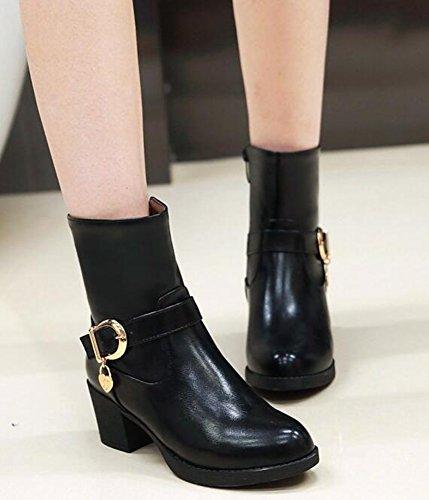 Black Heels Aisun Top High Women's Chunky Mid Daily Booties vwqvpxfU8