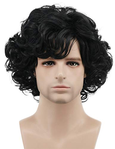 Karlery Men's Black Short Fluffy Curly Wig Halloween Cosplay Wig Anime Costume Party Wig]()