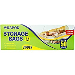 WRAPOK Freezer Bags Zip Lock Food Storage Bags Reclosable Freezer Safe 50 Count BPA free …