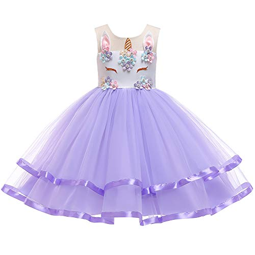 Toddler Kid Girl Summer Sleeveless Flower Tutu Dress Unicorn Costume Pageant Party Birthday First Communion Wedding Formal Event Purple Dress Only 4-5 Years