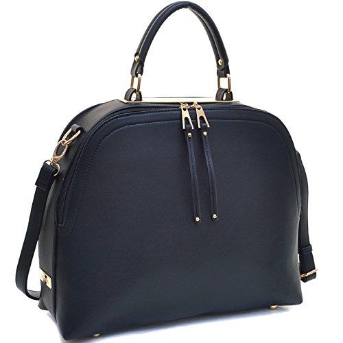 Satchel Domed Handbags - Dasein Women's Classic Buffalo PU Leather Domed Satchel Handbag Work Bag Shoulder Bag with Shoulder Strap (2-2730 Black New)