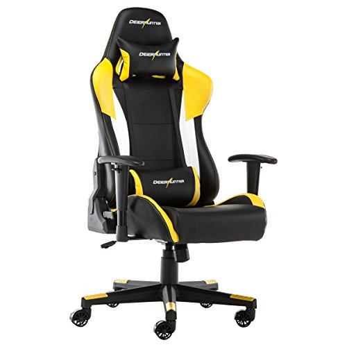 Deerhunter Gaming Chair, Leather Office Chair, High Back Ergonomic Racing Chair, Adjustable Computer Desk Swivel Chair with Headrest and Lumbar Support - Yellow by Deerhunter