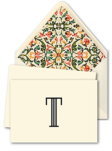K DESIGNS - HAND MADE STATIONERY - FOLD OVER NOTE CARDS & DESIGNER ENVELOPES (Lined By Hand With Elegant Hand Made Specialty Paper) – Single Letter Monogram Fold Over Note ()