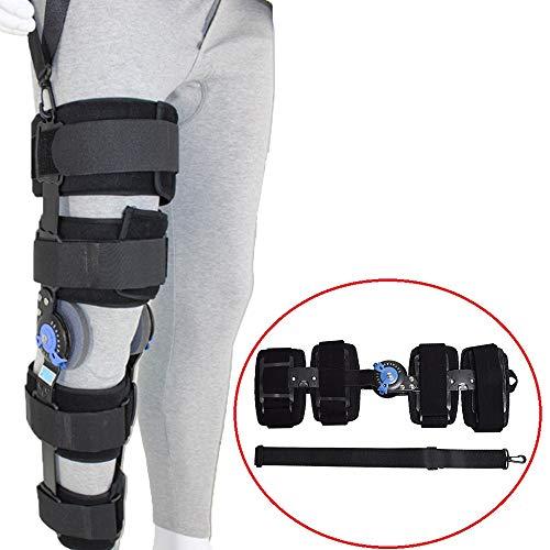 HiGOGO Adjustable Hinged Knee Brace ROM Knee Immobilizer Brace, Support Orthopedic Joint Fixator Leg for Men Women Knee Sprains Rehabilitation Exercise (M)