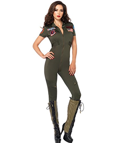 Leg Avenue TG85267 Sexy Top Gun Flight Suit Halloween Costume - Khaki - Medium