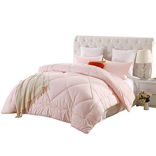 LOVO Down Alternative Comforter All Season Box Stitched Quilt Pink Duvet Insert, Pink, Full Queen ()