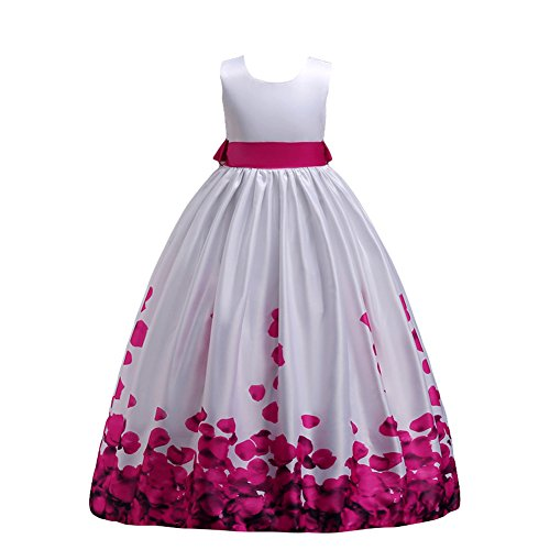 Girls Lace Wedding Party Dress Bridesmaid Flower Girl Maxi Dresses Hot Pink Rose 12-13 Years -
