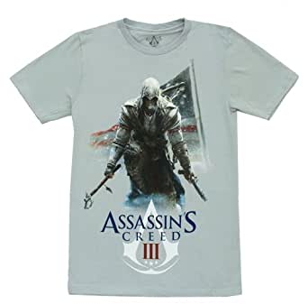 Assassins Creed Men's Silver Tee (X-Large)