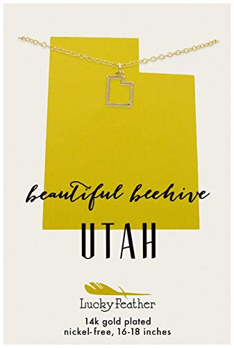 Lucky Feather Utah Shaped State Necklace, 14K Gold-Dipped Pendant on Adjustable 16