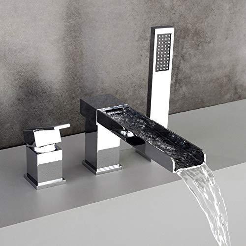 Hongala Contemporary 3-Hole Waterfall Bathtub Faucet Bathroom Roman Tub Filler with Handheld Shower(Chrome)