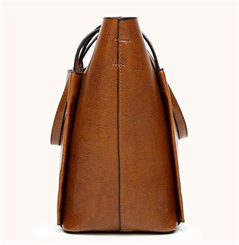 Bolsos de señora Xinmaoyuan señoras bolso de mano Bolso Messenger Salvaje Big Bag,vino rojo Brown