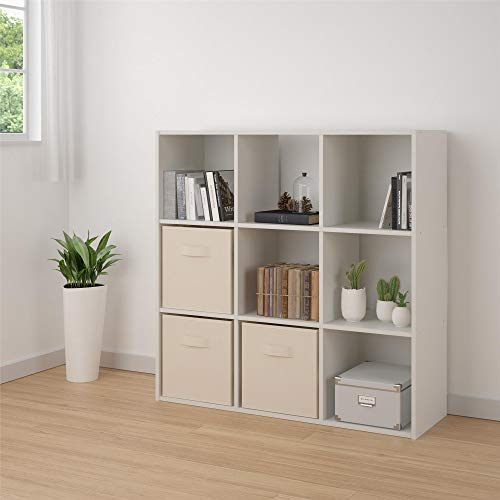 Ameriwood Basics Collection White Alexander 9 Cube Bookcase, Optimal Easy to Access storage Cubbies, Made From Laminated Particleboard with White Finish