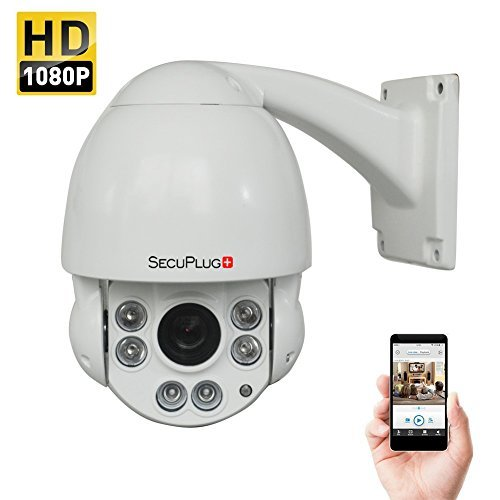 SecuPlug+ Outdoor 2.0MP HD 1080P Middle Speed Dome IR IP PTZ Camera with 10X Optical Zoom and 100-150ft Night Vision, 1920×1080 Resolution, Onvif Supported