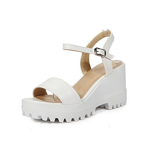 AllhqFashion Womens PU Solid Buckle Open Toe High-Heels Platforms & Wedges White 9Eo5VCEP