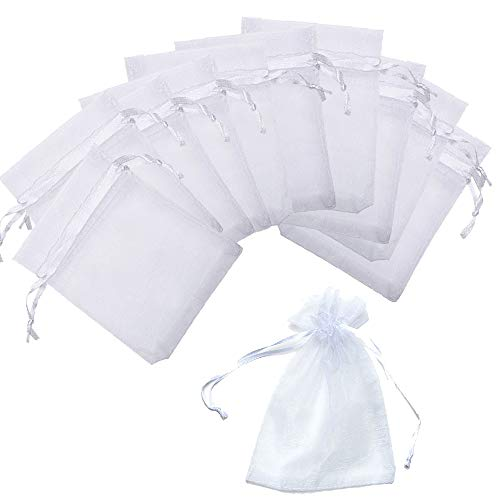 - STARUBY 120Pcs 4x6 Inches Drawstring Organza Bags Jewelry Favors Gift Bags for Wedding Party Candy Bags,White