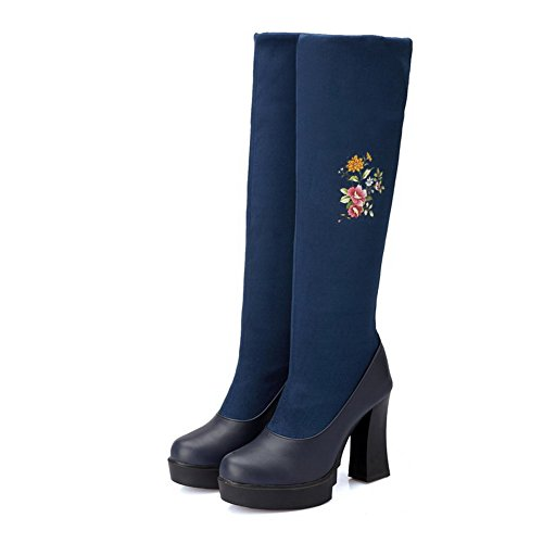 AgooLar Women's Assorted Color Blend Materials High Heels Pull On Round Closed Toe Boots Blue ZJP5sbob