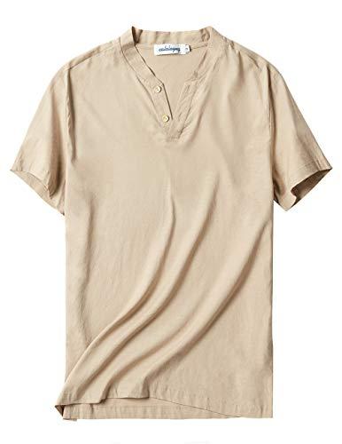 - CALOLEYNG Mens Linen V Neck Short Sleeve Stretch Vintage T Shirts Casual Summer Beach Shirts Khaki