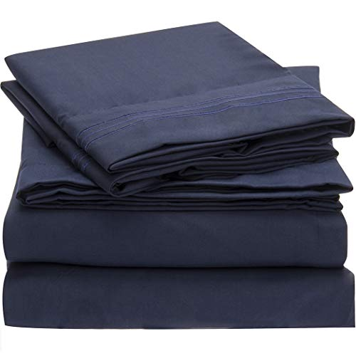 Mellanni Bed Sheet Set - Brushed Microfiber 1800 Bedding - Wrinkle, Fade, Stain Resistant - Hypoallergenic - 4 Piece (King, Royal Blue) from Mellanni