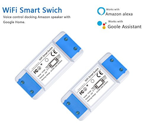 WiFi Smart Switch Mini Wireless Remote Control Electrical Works with Amazon Alexa Echo and Google Assistant 2 Pack (2) by Carrep