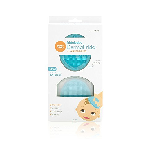 Baby Bath Silicone Brush by Fridababy | DermaFrida The SkinSoother Baby Essential for Dry Skin, Cradle Cap and Eczema (2 Pack) (Baby Boy Cradle)