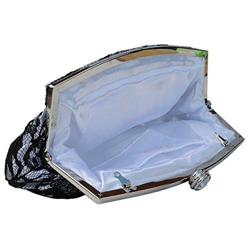 Prom Satin Purse Design Party Bags Black Diamante Crystal Evening White Wedding Trim Lace Bridal Handbag Bag Clutch Foral C7ZwqnBgq