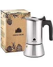 Groenenberg espressobryggare induktion lämplig   rostfritt stål   4–6 koppar espressokanna   200–300 ml mokkaka   espressomaskin med ersättning tätning och anvisningar   aluminiumfri