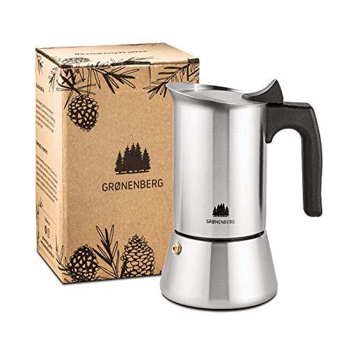 Groenenberg Cafetera Italiana inducción, 4 Tazas (200 ml) | Cafetera Moka de acero inoxidable (inox) | Cafetera Espresso…