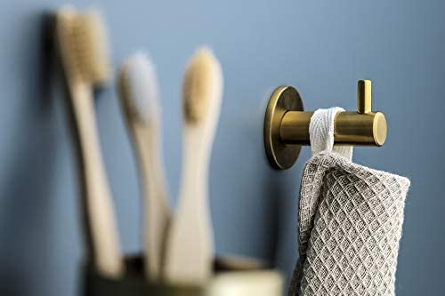 sombreros cepillado accesorio de ba/ño de dise/ño de acero inoxidable dorado para colgar toallas resistente albornoces Percha de pared Kon-fort Home Colgador toalla ba/ño mate. color dorado