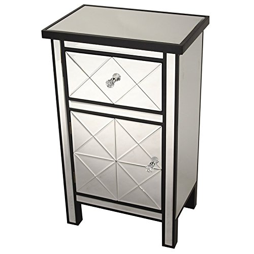 Heather Ann Creations Traditional Accent Console with Front Beveled Mirrored Finish, 32.7'' x 20'', Black by Heather Ann Creations (Image #1)