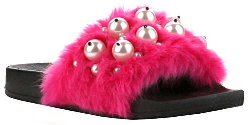 Fuchsia Slides - CAPE ROBBIN Moira-12 Women Flip Flop Faux Fur Pearl Slide Slip On Flat Sandal Shoe Slipper Black,8 B(M) US,Fuchsia