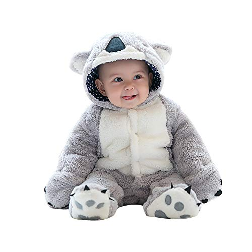 mikistory Infant Romper Newborn Unisex Costume for Baby Newborn Outfit Hoodie Winter Baby Outfits Bodysuits Grey Koala 3-6Months]()