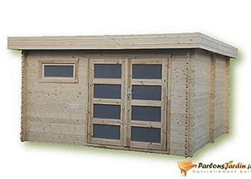 Cobertizo de madera para jardín, con techo plano Ste Maxime 14,9 m²: Amazon.es: Hogar