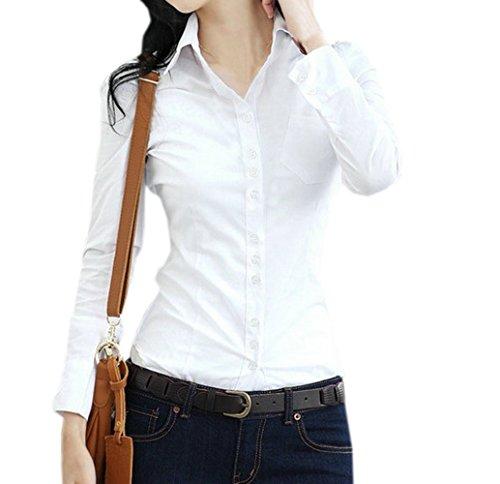 Primavera e Autunno Donne Camicie Sottile Tinta Unita Blouse Tops Shirts da Ufficio Moda Risvolto Cime Bluse Camicetta Bianca
