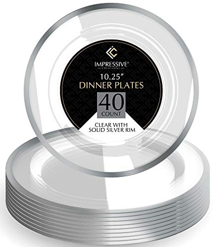 Premium Heavy-weight Round Plastic Plates - Dinner Plates Silver Rim - Superior Plastic - Pack of 40 - 10.25 Inches Plates - Perfect for a Party