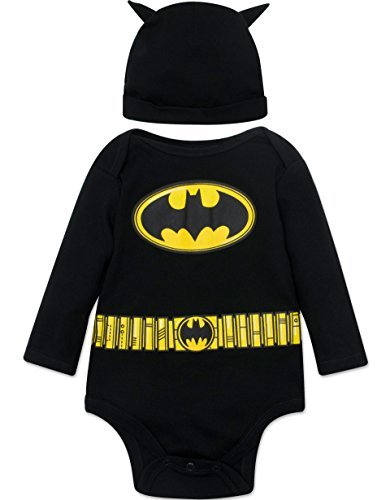 Warner Bros. Batman Baby Boys' Costume Long Sleeve Bodysuit and Cap Set Black, 3-6 (Kids Man In The Yellow Hat Costume)