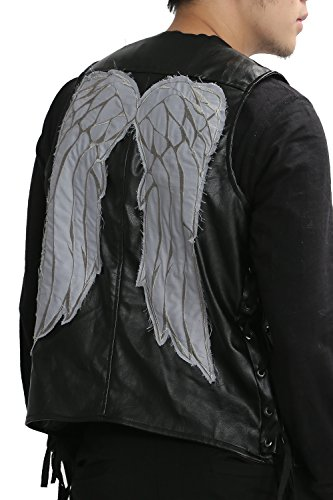 Daryl Dixon Halloween Costume (XCOSER Mens Daryl Dixon Vest with Wings PU Leather Jacket Costume Black)