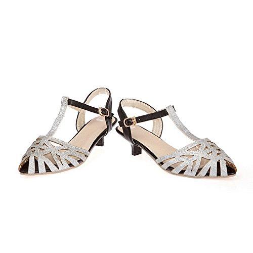 AdeeSu Womens Dance-Ballroom Studded Fashion Urethane Sandals SLC03721 Silver 531CGoik
