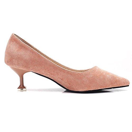 DIMAOL Chaussures Pour Femmes Fleece Printemps Automne Pompe de Base Talons Talon Chaussures Occasionnels de Carrière Bureau & Rose Noir,Rose,US8/EU39/UK6/CN39
