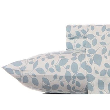 Laura Ashley Flannel Sheet Set, Leaves Aqua, Queen